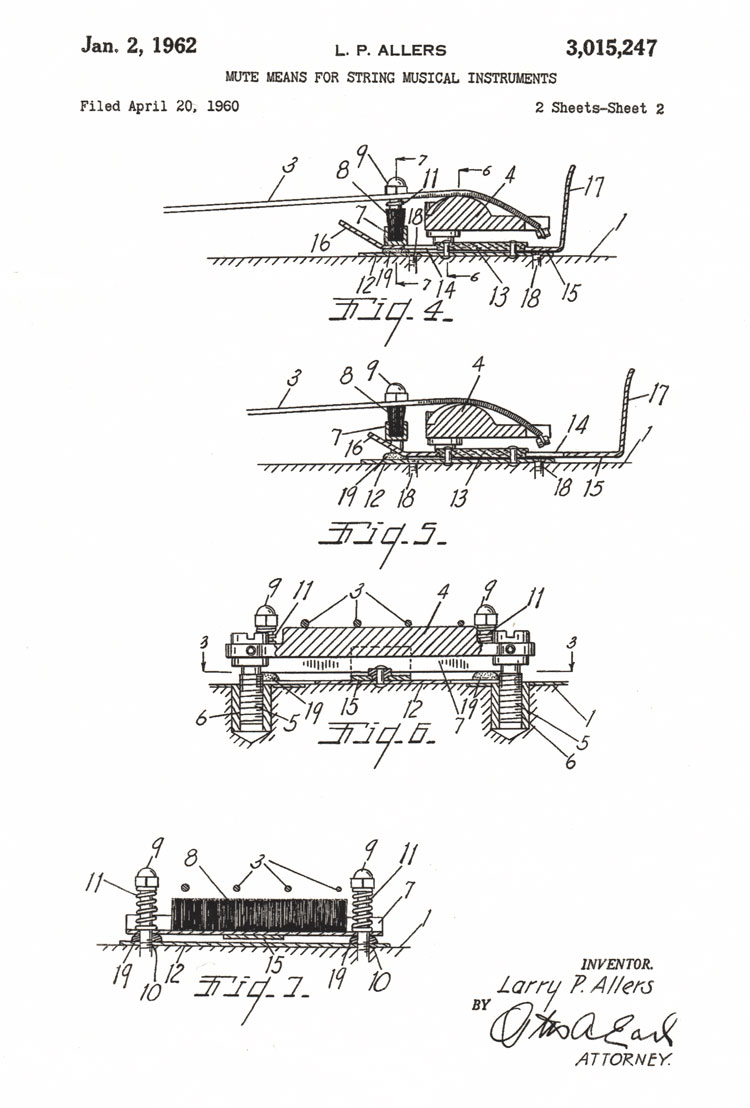 Gibson Bass String Mute Patent No 3015247 Eb 3 Wiring Diagram Filed 1960 Granted 1962 Page 2