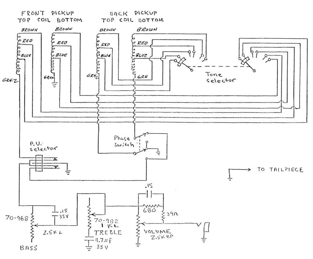 Les Paul Bass Wiring Diagram Free For You Gibson Eb 1 Guitar Drawings Switching System Circuitry And Information U003e Flyguitars Rh Com 1959 Epiphone