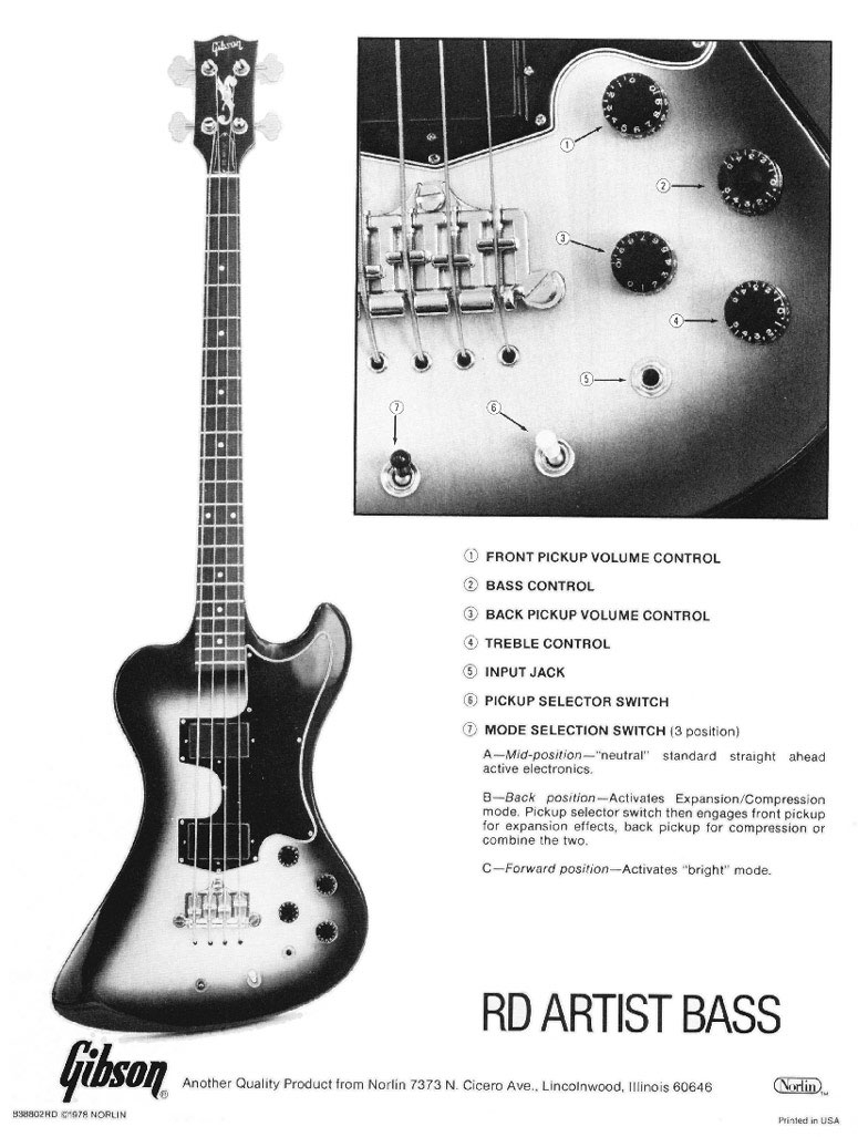 Description Of Controls The Gibson Rd Artist Bass Guitar Electric Diagram Intuitive