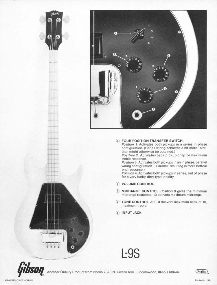 the gibson l9 s ripper control description (1978) \u003e\u003e flyguitars Gibson Bass Guitars gibson l9 s ripper specification sheet (1978)