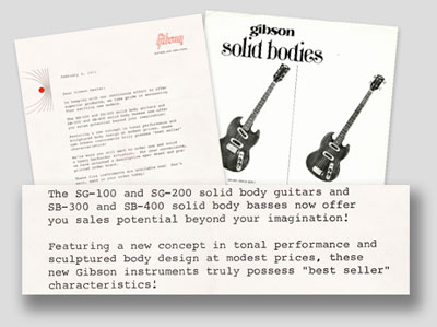 Announcing the Gibson SB300 and SB400 bass and SG100 and SG200 guitar