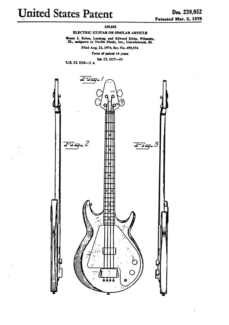 Gibson Grabber Design Patent: Des. 239,052 >> FlyGuitars on