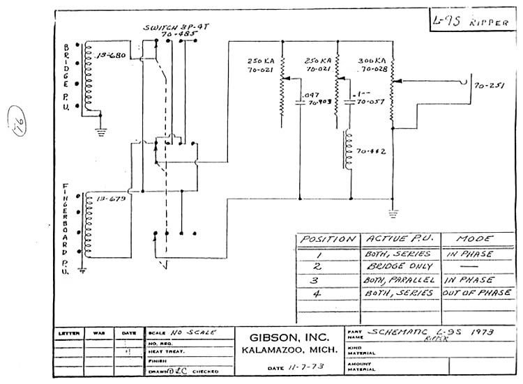 Gibson Ripper B Guitar wiring schematic >> FlyGuitars on